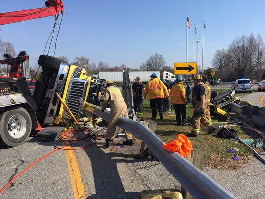 It took emergency crews 90 minutes to free a 37-year-old