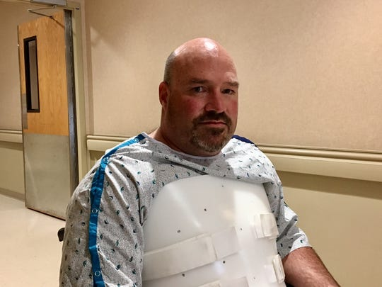 John Wells recovers at Morristown Medical Center after his plane crashed into Lake Aeroflex on April 23, 2018.