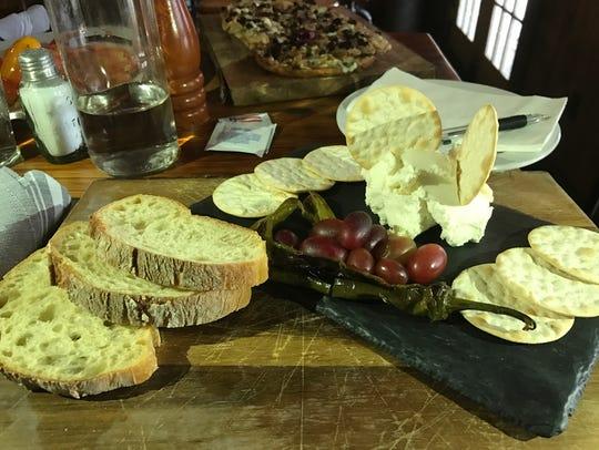 Barrow House Farmer's Cheese platter with artisan crackers