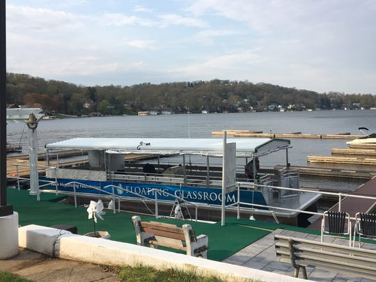 The Floating Classroom, an educational vessel now owned by the Lake Hopatcong Foundation to bring schoolchildren on jaunts around the lake.