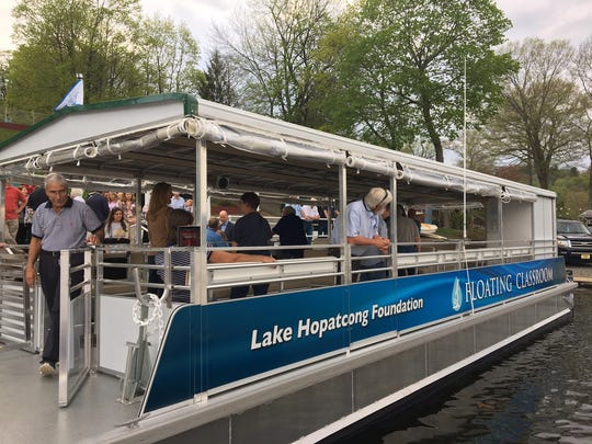 The Lake Hopatcong Foundation's new Floating Classroom was christened May 4, 2018.
