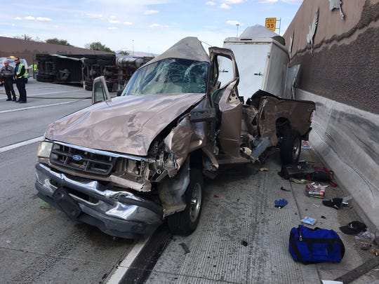 The Nevada Highway Patrol releases photos showing the scene of a 10-vehicle crash that wreaked havoc on Interstate 80 at the Spaghetti Bowl in Reno. Investigators are searching for witnesses with information on the crash.