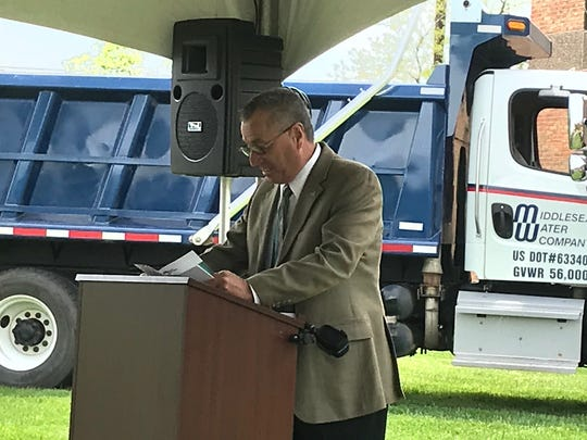Middlesex County Freeholder Director Ronald Rios spoke about the benefits of Middlesex Water Company's Western Transmission Main project.