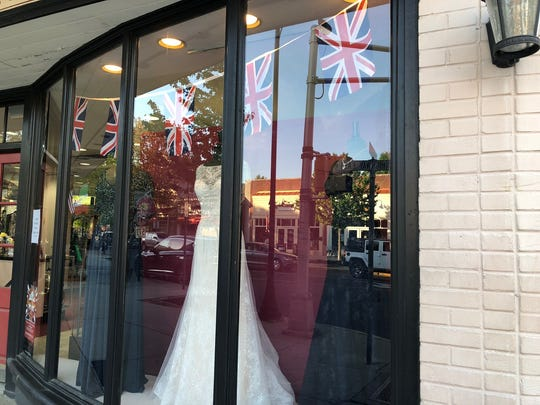 Union Jacks and gowns in red, while and blue at Jay West in Haddonfield are a tribute to the royal wedding.