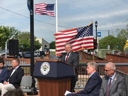 U.S. Sen. Bob Menendez discusses Carteret's planned ferry service to Manhattan on Friday.