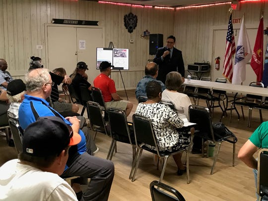 Manuel Davila, associate director at West Texas VA Health Care System, gave an update on the new San Angelo VA Clinic a town hall meeting   for veterans at the Veterans of Foreign Wars Post 1815 Thursday, May 10, 2018.
