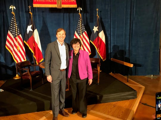 Andrew White and Lupe Valdez after their debate in Austin on May 11, 2018.