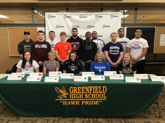 Greenfield High School honors its 15 seniors signed to play collegiate athletics on May 14.