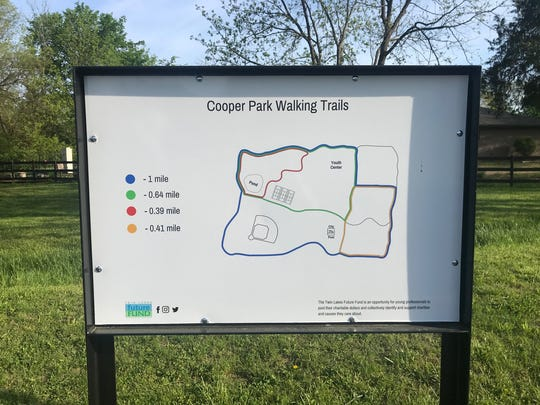The Twin Lakes Future Fund recently gifted signs at Cooper Park which describe distances of the walking trail loops.