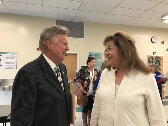 Candidate Bob Huber speaks with Simi Valley resident Elaine Hollifield before the event.
