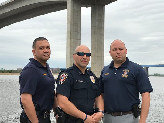 Perth Amboy Detective Crescencio Fuentes, Officer Danny Gonzalez and Detective Luis Perez will receive valor awards from the 200 Club of Middlesex County for their work rescuing a distraught man who threatened to jump off he Victory Bridge in September 2017.