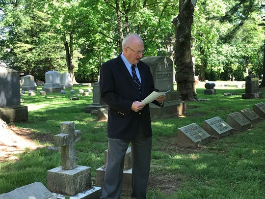 Kearney Kuhlthau, a past  president of Ellmwood Cemetery in North Brunswick, read a poem by Joyce Kilmer at a Memorial Day tribute held at the cemetery Thursday.