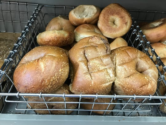 Plain -- and big -- bagels at Boxcar Bagels in Bogota.