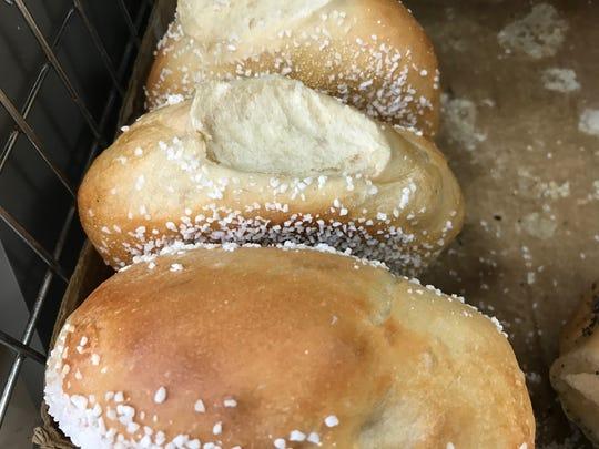 Salt bagels at Boxcar Bagels