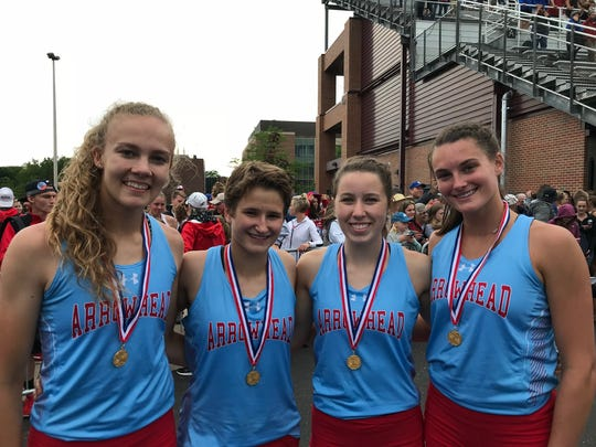 The Arrowhead 4x400-meter relay team closed the meet with a state championship. Members of the team are (from left) Sarah Edwards, Anna Schueth, Abigail Bartelson and Kayla Vogt.