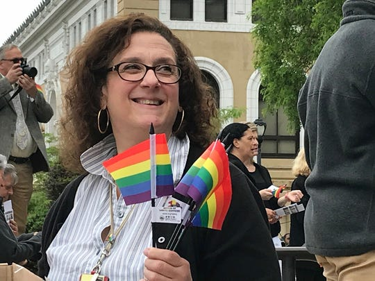A large crowd turned out Monday to celebrate LGBTQ