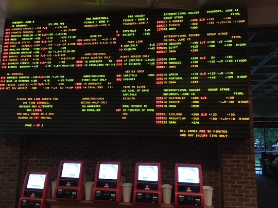 The betting board inside the Delaware Park sportsbook. The state of Delaware became the first outside of Nevada on Tuesday to offer single-game sports betting
