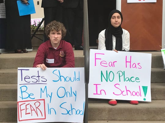 Faith communities rally in June for the state to give nonpublic schools the same level of funding allocated to public schools for security costs.