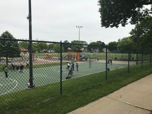basketball courts at Liberty Heights Park