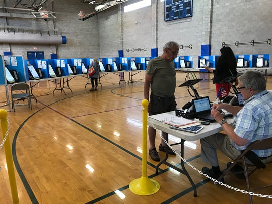Voters were few and far between during mid-morning