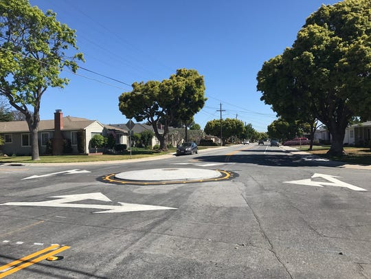 Traffic circles were installed on Riker Street earlier this year.