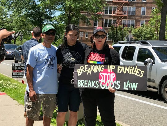 "A rally for ""Families belong Together"" held in Highland"