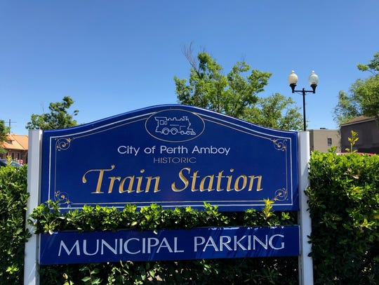Perth Amboy Train Station sign on Market Street.