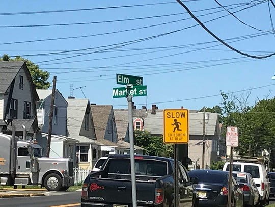 Perth Amboy street sign at the corner of Market and