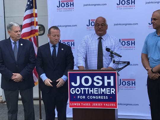 Bergen County Sheriff Michael Saudino, announcing his endorsement of Rep. Josh Gottheimer on Monday. Joining Saudino's are Paramus mayor Richard LaBarbiera (r ) and Bergen County Executive Jim Tedesco ( l )