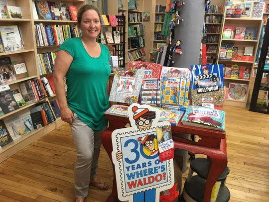 "Bunnie Presswood shows off the ""Where's Waldo?"" display"