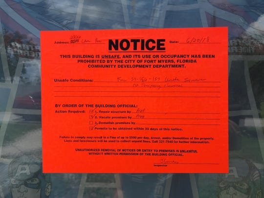 A home on LAne Avenue in Fort Myers has been deemed unsafe by Fort Myers code enforcement.