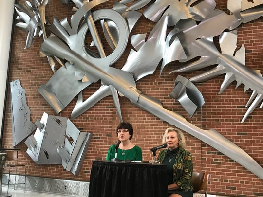 Michigan State University Trustees Dianne Byrum, left,