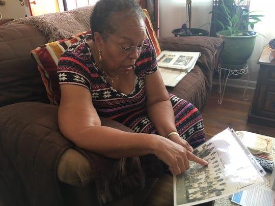 Georgia Harris, 79, looks at her first-grade class