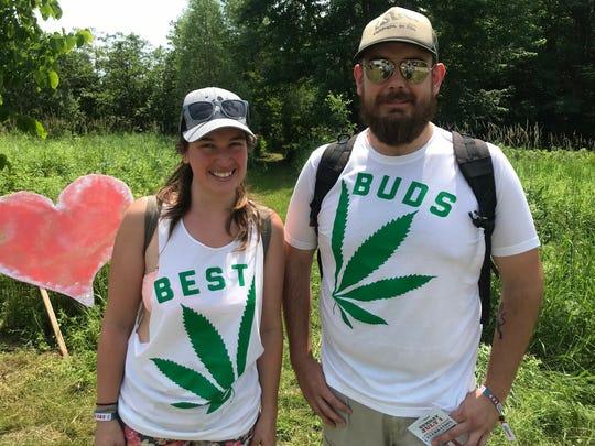 Addi Von Eynern and Ryan Williams of Burlington arrive at the Heady Vermont marijuana legalization celebration at Willow Crossing Farm in Johnson, on Sunday, July 1, 2018.