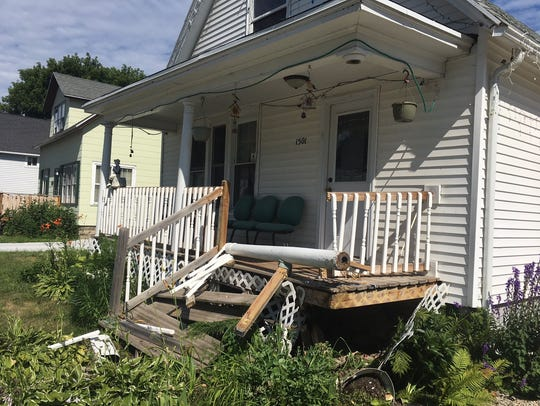 A home in the 1500 block of Elm Street was damaged
