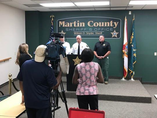 Sheriff William Snyder addresses the media on Thursday,