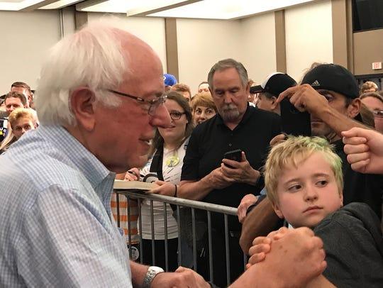 Sen. Bernie Sanders greets supporters in Eau Claire