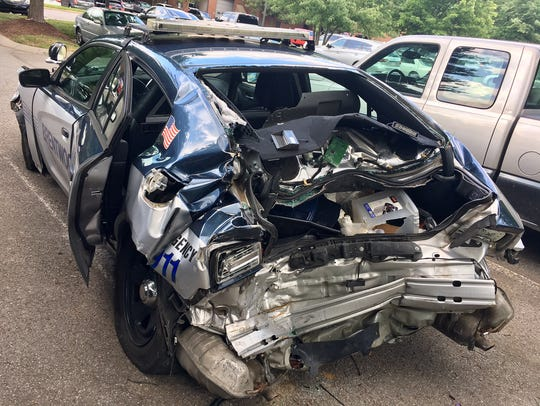 A Brentwood Police Department vehicle was struck by a suspected drunk driver on Interstate 65 over the weekend.