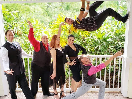 Dancers and dance instructors will include, from left, Steve Wilkie, director at Second Life Animal Sanctuary; Elliot and Marie Acosta, owners of The Watch Repair Clinic; Marianella Tobar, owner of Marianella's Dance Fusion; Indian River College Fine Arts graduate Rafaelito Gomez; and Thomas Ciaramitaro, owner of Aerial Elite Cheer & Dance.