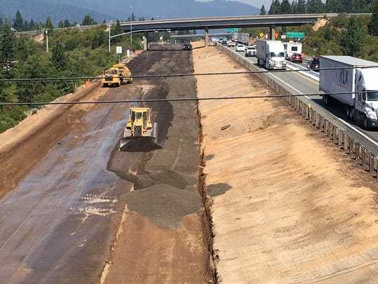 This July 18, 2018, photo shows the construction area of a California Department of Transportation project near Mount Shasta on northbound Interstate 5. The next phase of the project will last from April to December as the freeway's southbound lanes will be rebuilt, causing traffic delays north of Dunsmuir in Siskiyou County.