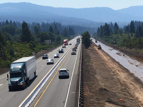 This July 18, 2018, photo shows heavy traffic as construction crews work on a project on northbound Interstate 5 near Mount Shasta. Phase two of the Dunsmuir Grade Project will rebuild the freeway's southbound lanes north of Dunsmuir starting in April.