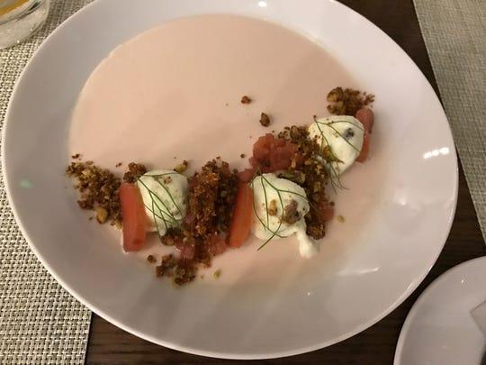 The Hill's panna cotta with pistachio gelato