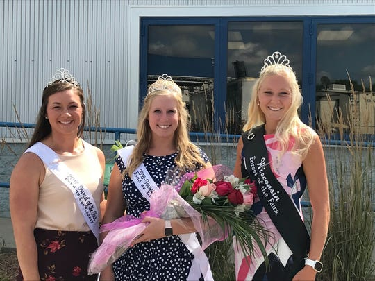 Emily Franke was named the 2018 Fond du Lac County Fairest of the Fair. Pictured are from left: 2017 Fond du Lac County Fairest of the Fair Kati Kindschuh, 2018 Fond du Lac County Fairest of the Fair Emily Franke and Wisconsin Fairest of the Fair Isabella Haen.