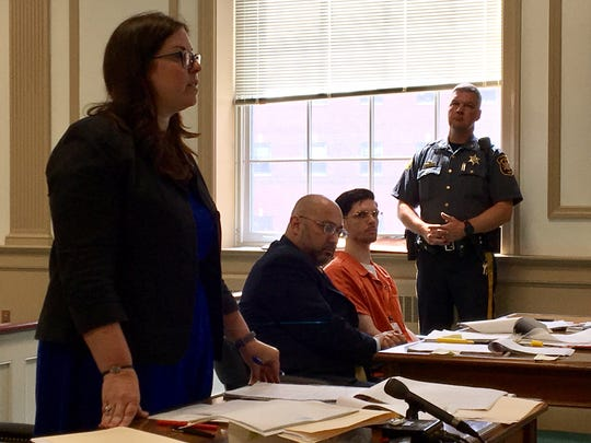 From left, Morris County Assistant Prosecutor Kelly Sandler, defense lawyer John Caruso, defendant Dylan Howard, in Superior Court, Morristown, on July 24, 2018.