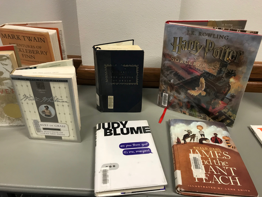 Several challenged or banned books from school libraries are displayed at the Region 15 Service Center in San Angelo, July 12, 2018.