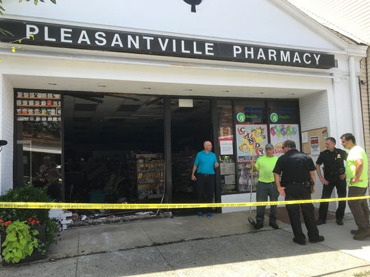 A car crashed into the Pleasantville Pharmacy at 62