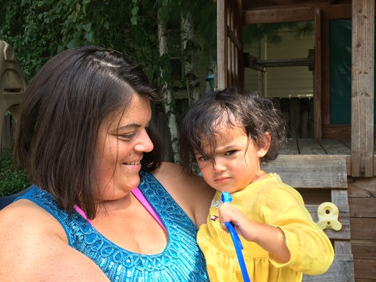 Michelle Ayala of Franklin Borough, with daughter Daisy, 2.