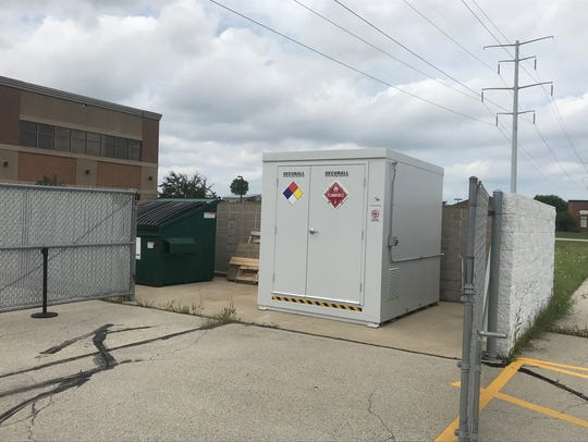 The 8-by-8 methamphetamine chemical storage containers
