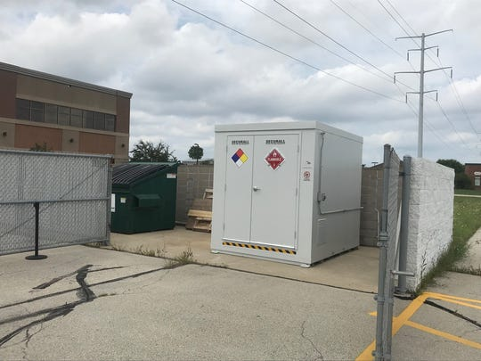The 8-by-8 methamphetamine chemical storage containers will be placed in six counties across the state. Brown County's container is stored at the sheriff's department.