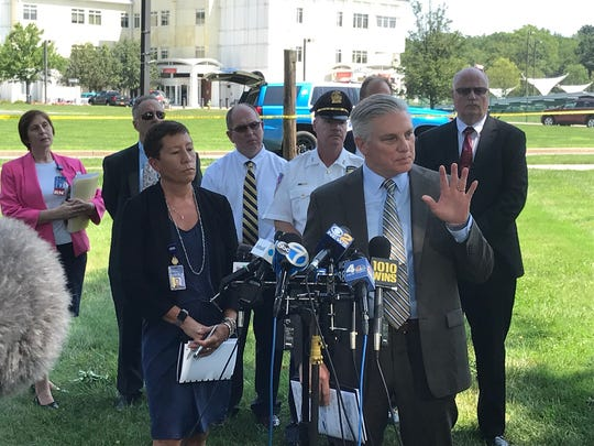 Tom Gleason, Westchester County public safety commissioner, speaks about the fatal shooting at Westchester Medical Center on Aug. 8, 2018.